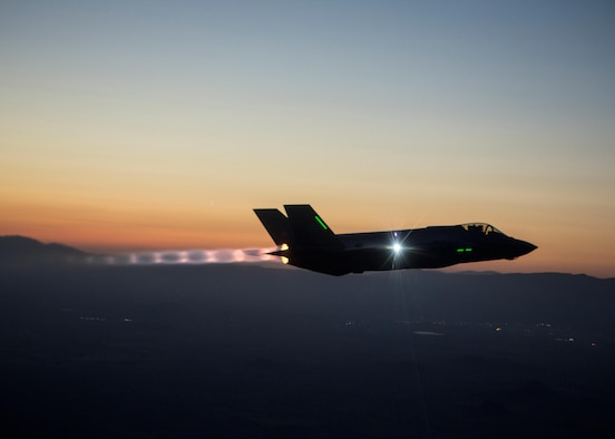 The F-35 Integrated Test Force is completing a series of night flights, testing the ability to fly the jet safely in instrument meteorological conditions where the pilot has no external visibility references. The ITF, which has the lead on all F-35 mission systems testing, is responsible for five of the six night flights. (Courtesy photo/Tom Reynolds)