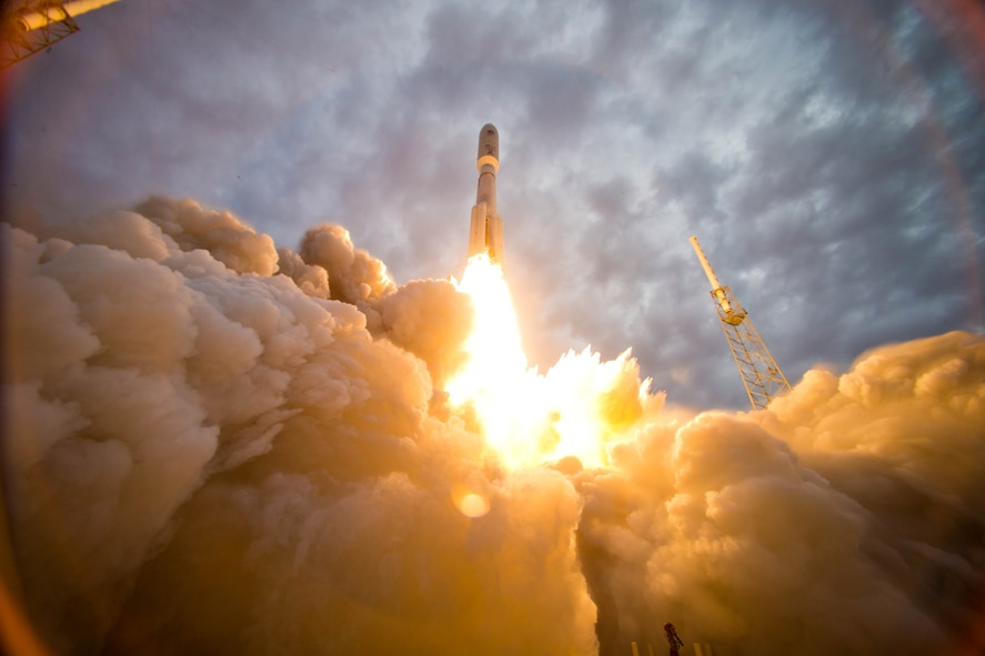 The 45th Space Wing successfully launched a United Launch Alliance Atlas V rocket carrying the second Mobile User Objective System (MUOS-2) satellite for the U.S. Navy July 9, 2013, at Cape Canaveral Air Force Station, Fla. MUOS is the next generation narrowband military satellite communication system that supports a worldwide, multiservice population of users in the ultra-high frequency band. (Courtesy photo/Pat Corkery)