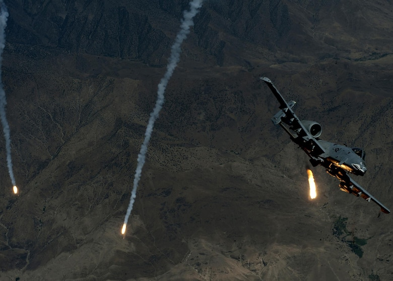 Capt. Antonio Massara deploys flares from an A-10 Thunderbolt II July 25, 2013, during a mission over Southwest Asia. Massara is assigned to the 74th Expeditionary Fighter Squadron. (U.S. Air Force photo/Staff Sgt. Robert Barnett)