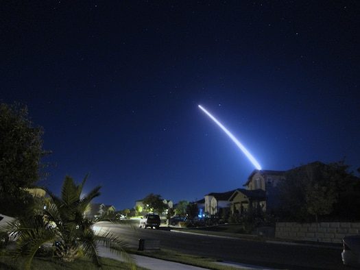 An operational test launch of an unarmed Minuteman III intercontinental ballistic missile from Vandenberg Air Force Base, Calif., is seen from nearby Lompoc, Calif., Sept. 26, 2013. The ICBM safely launched and traveled the approximately 4,200 nautical miles to its target in the Marshall Islands. (Courtesy photo/Lt. Col. Andy Wulfestieg)