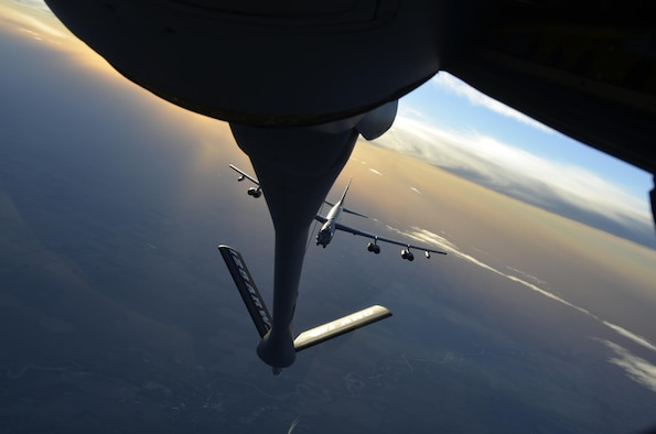 Members of the 128th Air Refueling Wing, Milwaukee, Wisc., refuel a B-52 Stratofortress during a training exercise Nov. 3, 2013. (U.S. Air Force photo/Staff Sgt. Jenna Hildebrand)