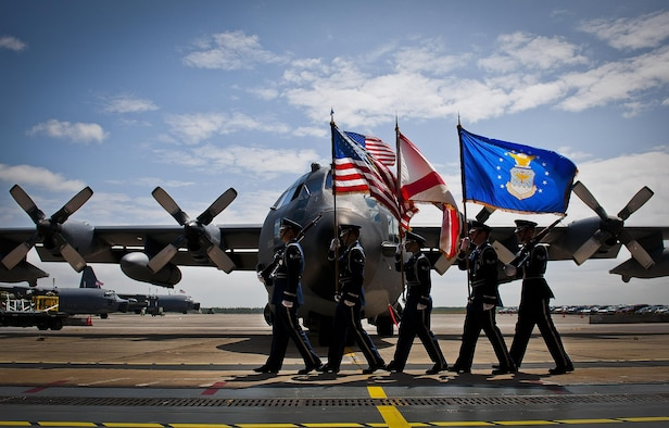 "The Eglin Honor Guard brings in the colors in the shadow of an MC-130E Combat Talon I April 25, 2013, during its retirement ceremony at Duke Field, Fla. Aircrew, maintainers and many others turned out to remember and bid farewell to the Talon I on its official retirement from the Air Force. The last five Talons, located at Duke Field, will be delivered to the ""boneyard"" at Davis-Monthan Air Force Base, N.M., by mid-May 2013. (U.S. Air Force photo/Tech. Sgt. Samuel King Jr.)"