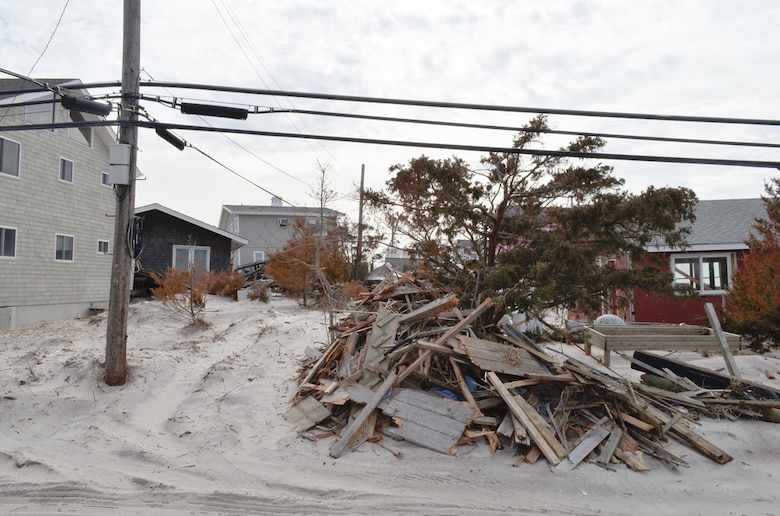 Debris left in Hurricane Sandy's wake on Fire Island, N.Y., awaits removal Feb. 22, 2013. The U.S. Army Corps of Engineers is overseeing the removal of hurricane debris on Fire Island as part of the federal government's Sandy response and recovery efforts in New York.