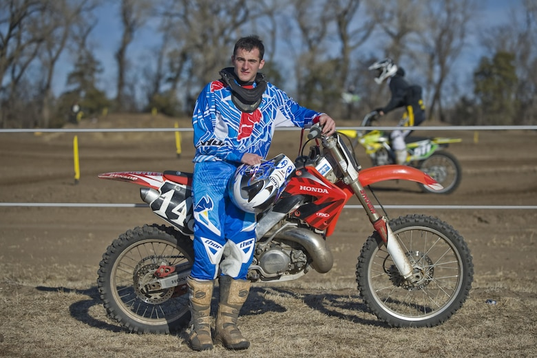 2nd Lt. Michael Reardon poses in front of a race track in Maize, Kan. He is the deputy chief of program development with the 22nd Civil Engineer Squadron at McConnell Air Force Base, Kan. Reardon has competed in motocross races for nearly three years and has been riding since he was 10 years old.