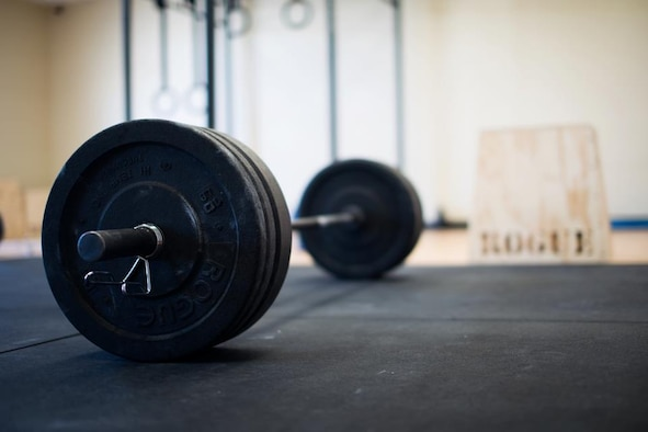 A barbell set up with weight, ready for a WOD in the Raptor Cage. (Courtesy photo)