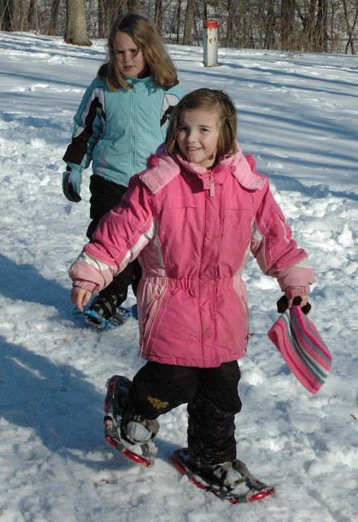 Snowshoeing kids