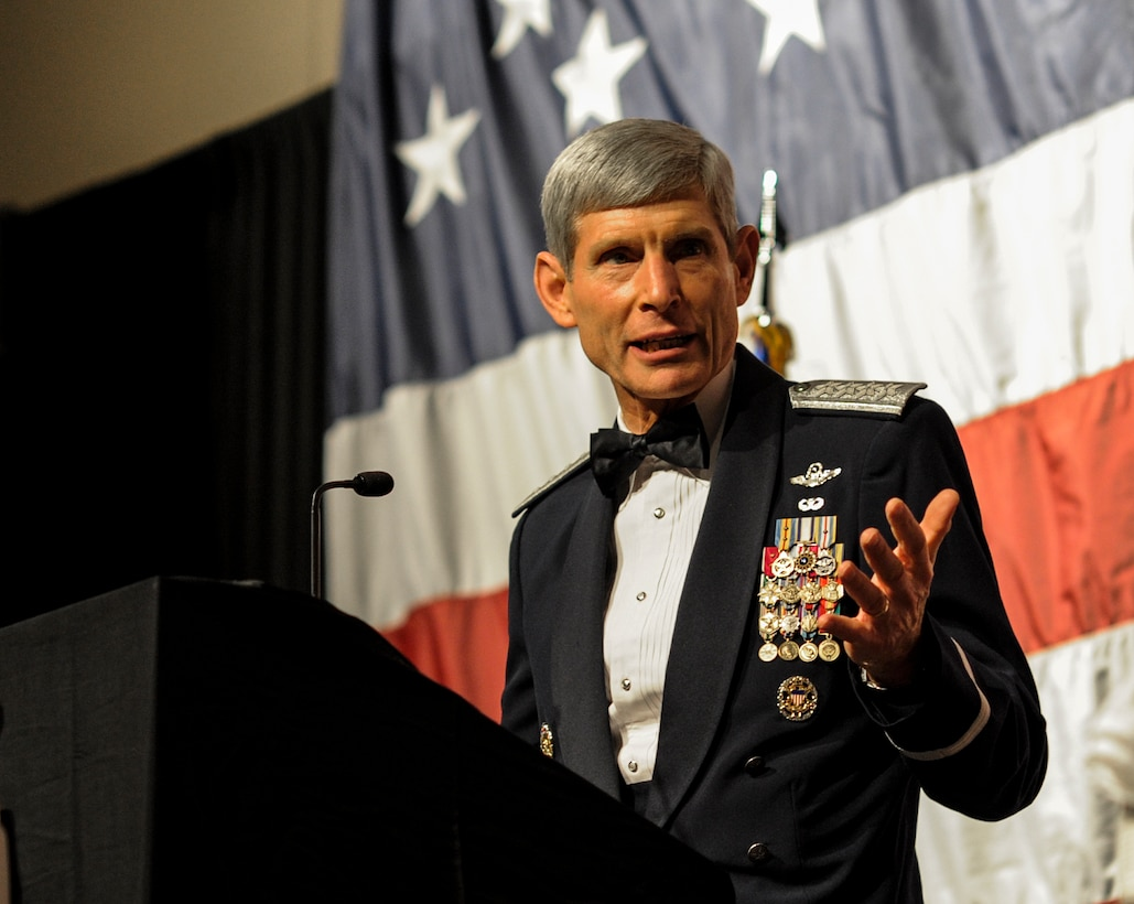 U.S. Air Force Gen. (Ret.) Norton Schwartz speaks during his Order of the Sword ceremony at the Emerald Coast Convention Center on Okaloosa Island, Fla., Feb.1, 2013. The original Order of the Sword was patterned after two orders of chivalry founded during the Middle Ages in Europe: the British Royal Order of the Sword and the Swedish Military Order of the Sword, which are still in existence today. (U.S. Air Force photo/Airman 1st Class Christopher Callaway)