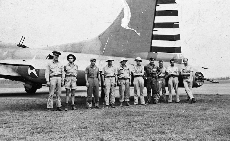 Some of the crewmen and one of the two B-17s that returned safely to Australia from the Philippines. (U.S. Air Force photo)