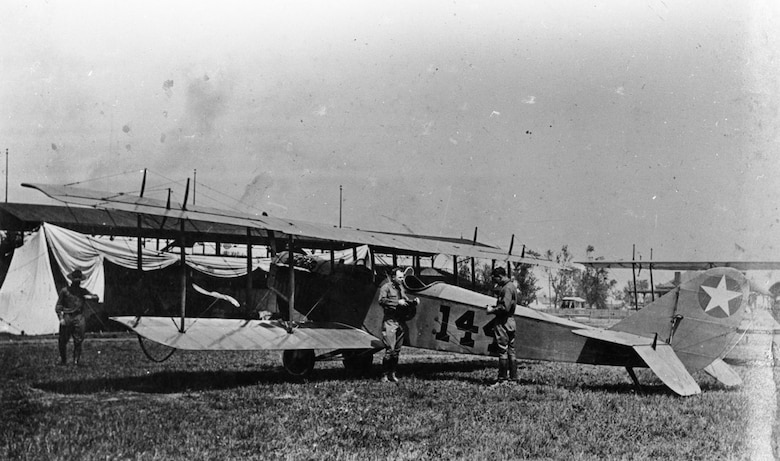 Curtiss JN-4 at Signal Corps Flying School, Memphis, Tenn. (U.S. Air Force photo)