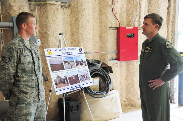 Staff Sgt. Chris Lenane, 36th Mobility Response Squadron, briefs Lt. Gen. Stephen Hoog, U.S. Air Force Alaskan Command and 11th Air Force commander, on the 36th MRS role and responsibilities in the Pacific Region at Northwest Field, Guam, Feb. 1. During his trip here, General Hoog visited with the 736th Security Forces Squadron, 36th Mobility Response Squadron, 36th Medical Group and several other squadrons from Andersen, and got a first-hand look at what Andersen Airmen bring to the fight within U.S. Pacific Command area of responsibility. (US Air Force photo by Senior Airman Robert Hicks/Released)