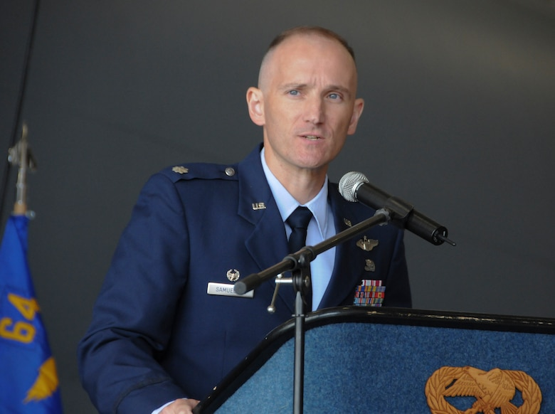 Lt. Col. Ryan Samuelson speaks after assuming command of the 64th Air Refueling Squadron, Pease Air National Guard Base, N.H., June 2, 2011.