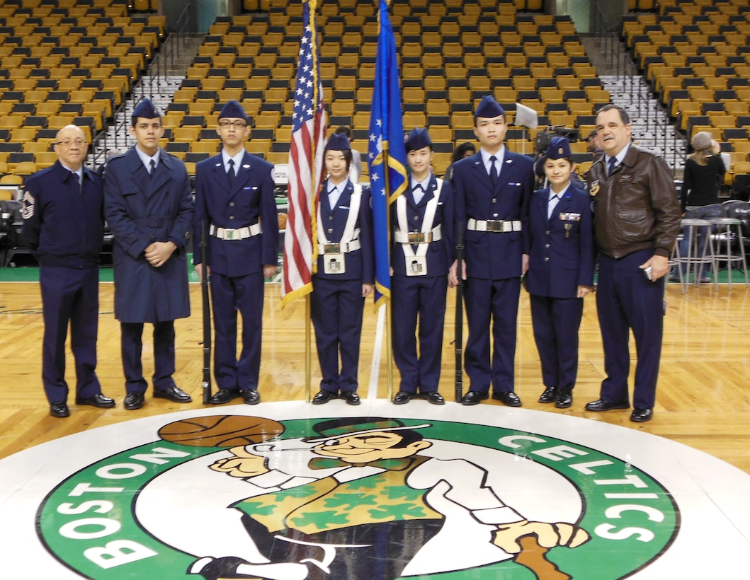 Cadets from AFJROTC MA-761, Charlestown High School, Mass., posted the colors at the start of the Boston Celtics vs. L.A. Clippers NBA basketball game Feb. 3. Pictured are aerospace science instructor retired Chief Master Sgt. Jose Lopes, cadets Ray Ortega, Woquan Li, Yinyin Zhou, Shuru Mai, Jian Lin and Tania Alfonso and senior aerospace science instructor retired Maj. Bri Chaisson. (Courtesy photo)