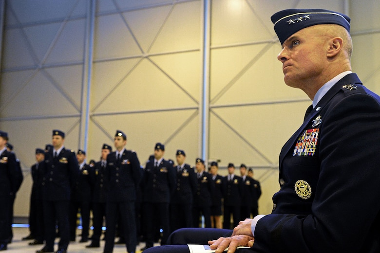 Lt. Gen. Craig Franklin, 3rd Air Force commander, listens during a memorial service on Aviano Air Base, Italy, Feb. 6, 2013. Approximately 1,000 people attended the memorial service for Gruenther, who past away when his F-16 went down over the Adriatic Sea Jan. 28. (U.S. Air Force photo/Airman 1st Class Matthew Lotz)