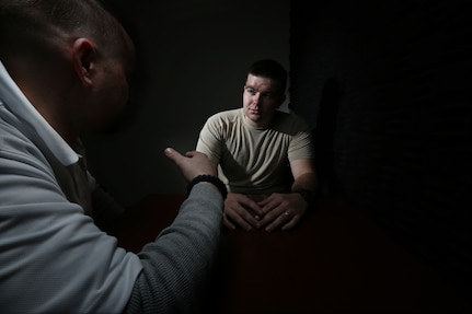 U.S. Air Force Detective Louie Cathro, 902nd Security Forces Squadron Criminal Investigations, simulates an interrogation of a service member Jan. 29, 2013, at Joint Base San Antonio-Randolph. (U.S. Air Force photo by Joshua Rodriguez/ Released)