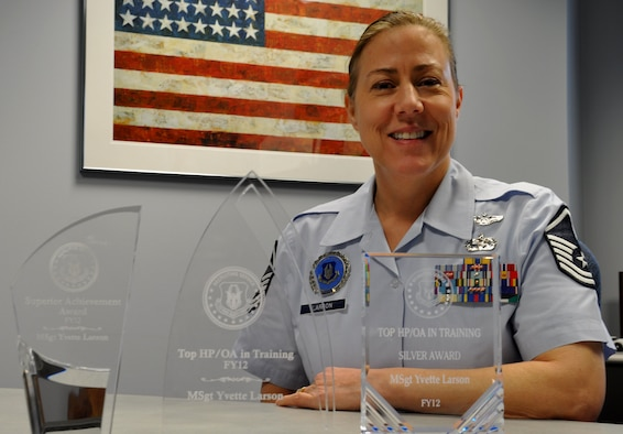 Master Sgt. Yvette Larson, 446th Airlift Wing officer accessions recruiter for the Western Recruiting Squadron, is the winner of the Top Health Professions/Officer Accessions Award. She exceeded her recruiting goal by 429 percent. (U.S. Air Force Photo/Airman 1st Class Madelyn McCullough)