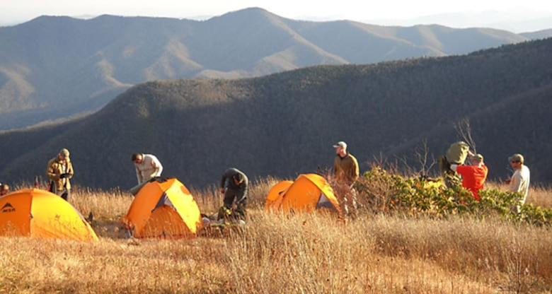 113th ASOS TACPs set up camp during Operation Blue Ridge in North Carolina. Photo By Master Sgt. Scott McPhee
