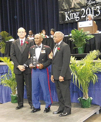'Never forget where you came from and always give back' is the motto of Nathaniel Lowman, commanding officer of the Albany Young Marines, and retired Marine Corps master sergeant.Lowman has lived by these words for the last 35 years and because of his service to the surrounding communities, he was awarded the 2013 Dr. Martin Luther King Jr. Dream Award during a ceremony held at the Albany James H. Gray Sr. Civic Center, Jan. 21.