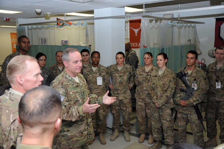 Air Force Chief of Staff Gen. Mark A. Welsh III and Chief Master Sgt. of the Air Force James Cody meet with Airmen of the 455th Expeditionary Medical Group on Bagram Airfield, Afghanistan, Feb. 6, 2013. Welsh praised the Airmen for the quality of care they provide to both wounded warriors and Afghan civilians. (U.S. Air Force photo/Staff Sgt. David Dobrydney)