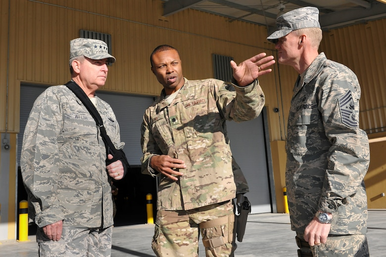 Air Force Chief of Staff Gen. Mark A. Welsh III and Chief Master Sgt. of the Air Force James Cody meet with Lt. Col. Luther King, 455th Expeditionary Aerial Port Squadron commander, at Bagram Airfield, Afghanistan, Feb. 7, 2013.  Welsh and Cody visited as a part of a multi-base tour to meet with Airmen throughout the U.S. Central Command area of responsibility.  (U.S. Air Force photo/Senior Airman Chris Willis)
