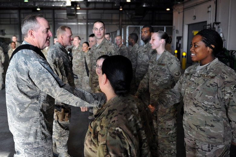 Air Force Chief of Staff Gen. Mark A. Welsh III and Chief Master Sgt. of the Air Force James Cody meet with Airmen of the 455th Expeditionary Aerial Port Squadron at Bagram Airfield, Afghanistan, Feb. 7, 2013. Welsh and Cody visited as a part of a multi-base tour to meet with Airmen throughout the U.S. Central Command area of responsibility. (U.S. Air Force photo/Senior Airman Chris Willis)