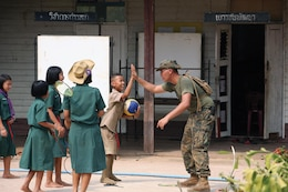 Niti Soonkoontod high-fives U.S. Marine Lance Cpl. Cuang V. Cao during their lunch break Jan. 24 at Chat Trakarn district, Phitsanulok province, Kingdom of Thailand. Cao is a combat engineer with 9th Engineer Support Battalion, 3rd Marine Logistics Group, III Marine Expeditionary Force.  Soonkoontod is a 12-year-old student of the Ban Kuad Nam Man School.