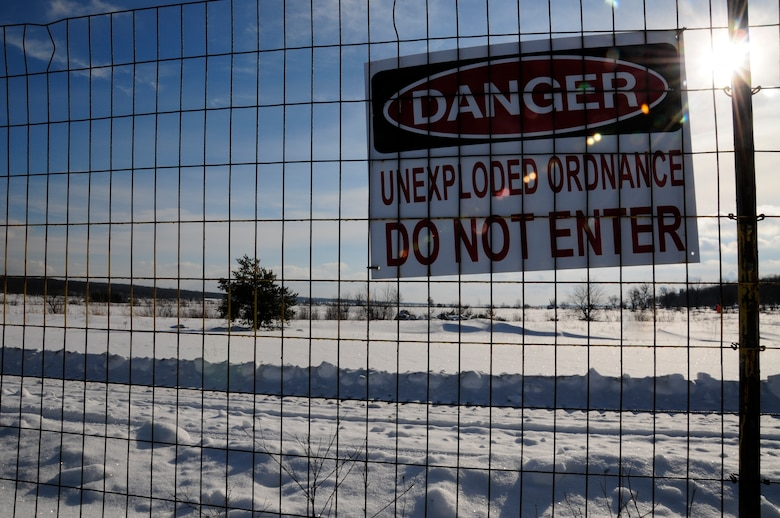 Grayling Air Gunnery Range is seen through a border fence during a drop zone recovery exercise in Frederic, Mich., Jan. 26, 2013. (U.S. Air Force photo by Airman Justin Andras/released)