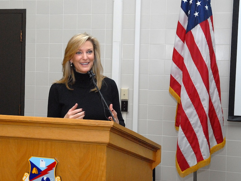 """Sharlene Wells-Hawkes delivered a motivational speech to Guardmembers during the 5th Annual Interfaith Devotional at the Utah Air National Guard Base Feb. 10. During her speech, """"Building and Sustaining Faith,"""" Hawkes illustrated the similarities between faith and military training. Among her many accomplishments, Hawkes is a motivational speaker, published author, former sports reporter and former Miss America 1985. (U.S. Air Force photo by Staff Sgt. Lillian Harnden)(RELEASED)"""