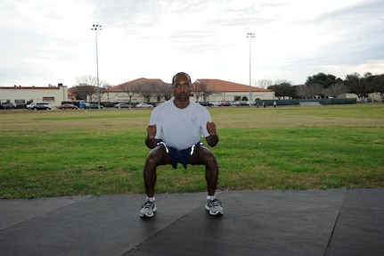 Squat Jump: Stand as tall as you can. Then dip your knees and squat down, swinging your arms back, in preparation to leap.  Jump as high as you can, when you land immediately squat down and jump again.  (U.S. Air Force photo by Don Lindsey)