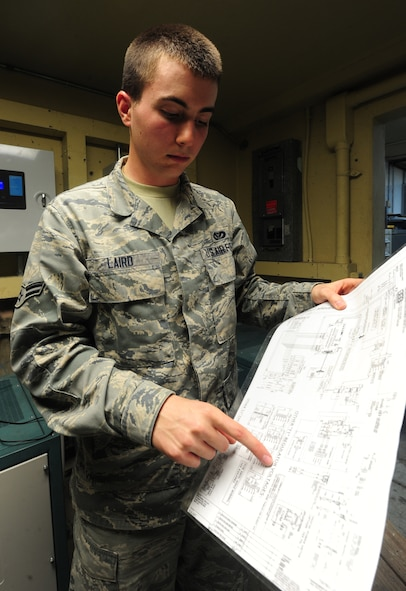 WHITEMAN AIR FORCE BASE, Mo. -- Airman 1st Class Devin Laird, 509th Civil Engineer Squadron electrical systems apprentice, reads a schematic diagram to see where to perform maintenance, Jan. 29. The schematic diagram shows electricians a map of how circuits are hooked up and where they are going. (U.S. Air Force photo/Staff Sgt. Nick Wilson) (Released)