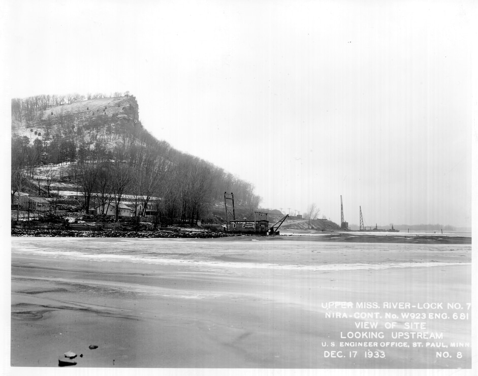 Upper Mississippi River, Construction of Lock and Dam 7, view of site looking upstream. Photo taken Dec. 17, 1933.