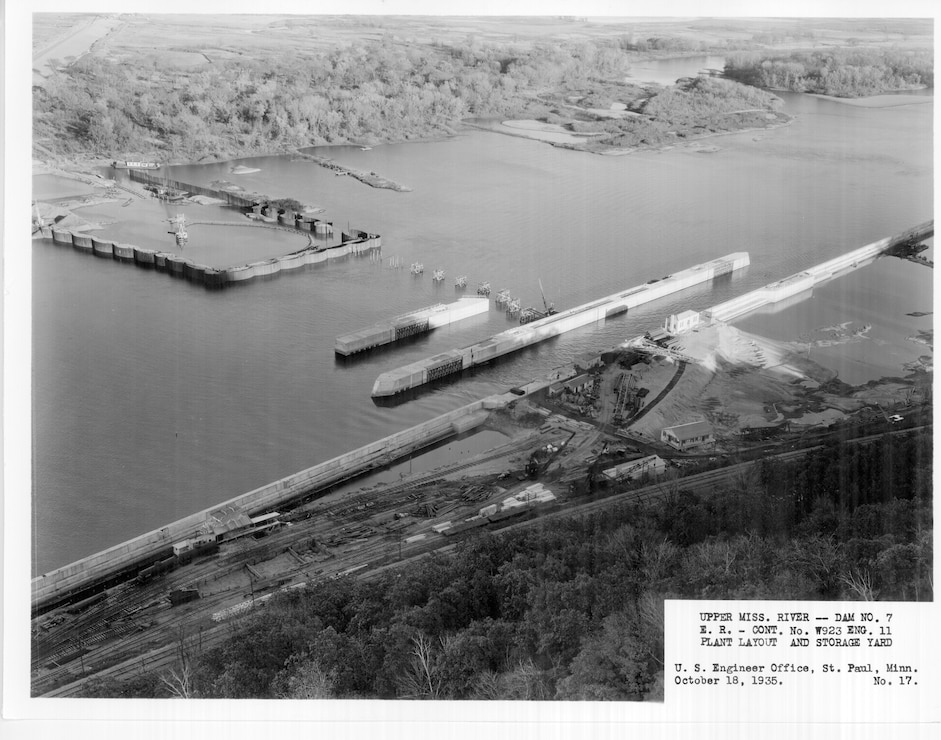 Construction of Lock and Dam 7 on the Upper Mississippi River in La Crescent, Minn., Oct. 18, 19335. Plant layout and storage yards.