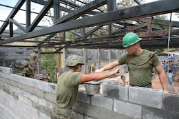 U.S. Marines stack cement blocks Feb. 1 during construction of a new building at Ban Kuad Nam Man School, Chat Trakarn District, Phitsanulok province, Kingdom of Thailand. Four similar structures are being built throughout the Kingdom of Thailand during ongoing engineering civic assistance projects part of Exercise Cobra Gold 2013. U.S. involvement in CG 13 demonstrates commitment to building military-to-military interoperability with participating nations and to supporting peace and stability throughout the region. U.S. Marines are with 9th Engineer Support Battalion, 3rd Marine Logistics Group, III Marine Expeditionary Force.