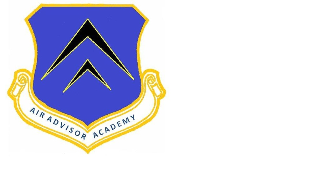 The Air Advisor Academy emblem consists of three distinctive elements; a shield, a scroll bearing the name of the academy and two black wingform icons outlined in yellow.  The shield hails back to the tradition of the U.S. Air Force, including the early days of Eddie Rickenbacker, a foundation which supports every generation of Airman. The shield is shaded in ultramarine blue and represents the sky, the primary theater of Air Force operations, and is a color indicative of the honor and dignity of our branch of service. The yellow outline on the shield, wingform icons and scroll represent the sun and the excellence required of Air Force personnel. The black of the wingforms represents the weight and serious nature of the advising mission and its impact on strategic objectives.   The two wingforms represent the multivariate nature of the Air Advisor Academy. The smaller wingform shows our early beginnings from the days of the first Wright Flyer as we took our initial tentative steps toward mastering the realm of eagles. The larger wingform represents our evolution in the profession of arms from being an air force to an aerospace force and beyond, expanding the mission, tactics and technology, continually embracing the challenge of the pathfinder. Together they represent all air advisors and dedication to the advising mission in support of national strategic objectives and their sacrifice by mirroring the structure of the Air Advisor memorial.(Courtesy Air Advisor Academy Staff)
