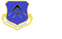 The Air Advisor Academy emblem consists of three distinctive elements; a shield, a scroll bearing the name of the academy and two black wingform icons outlined in yellow.
