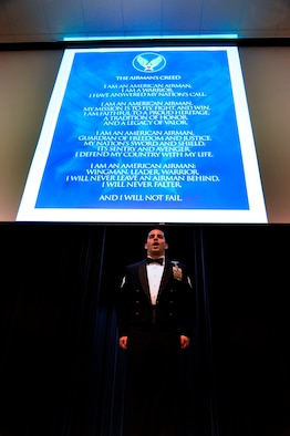 Staff Ssgt Kevin Sicalari recites the Airmans Creed during the 2012 436 AW  Annual Awards Ceremony, held Feb 8, 2013 at Dover Downs Hotel Casino Dover Del. U.S. Air Force photo/David S. Tucker