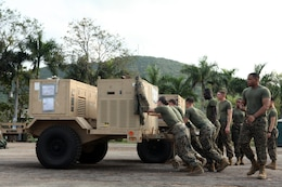 "U.S. Marines from Combat Logistics Regiment 3 move equipment for their combat operations center Feb. 9 at Camp Samaesan in Sattahip, Kingdom of Thailand, which will facilitate communications between logistics units throughout the country during exercise Cobra Gold 2013. ""Working with the Thai Marines is quite an experience,"" said U.S. Marine Lance Cpl. Andrew W. Berkowicz, a generator mechanic with CLR-3. ""There is a language barrier, but we share a special bond because we are both in the Marine Corps."" Cobra Gold, in its 32nd iteration, is a multinational exercise that promotes regional prosperity, security and cooperation among partner militaries. CLR- 3 is a part of 3rd Marine Logistics Group, III Marine Expeditionary Force."