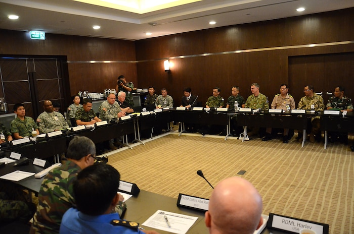 senior representatives of Thailand, U.S., Singapore, Japan, Republic of Korea, Indonesia and Malaysia attended a senior leaders seminar in Chiang Mai province,  the kingdom of Thailand during exercise Cobra Gold 2013  Feb. 11 and 12. The CG 13 staff exercise and senior leader engagements will sustain and reinforce the foundation and framework for a multinational force to respond rapidly and effectively to regional crises.  (U.S. Army photo by Sgt. Rory Featherston/Released)