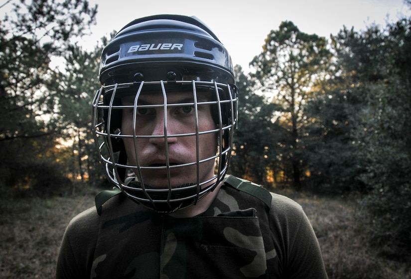 U.S. Marine Corps Pfc. Trae Neumann, a Naval Consolidated Brig Charleston corrections specialist, mentally prepares before a fight during Marine Corps Martial Arts Program training Feb. 7, 2013, at Joint Base Charleston – Weapons Station, S.C. MCMAP is a hand-to-hand, close quarter combat and weapons training program designed to educate, improve technique and boost morale throughout the Corps. Marines stationed at the NCBC participate in MCMAP four times a week. (U. S. Air Force photo/Airman 1st Class Jared Trimarchi)