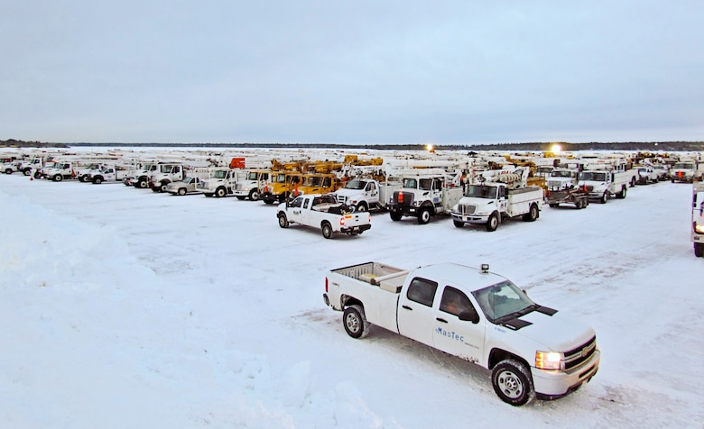 NStar Electric, a Northeastern utility company, is temporarily basing a large assembly of utility workers and vehicles here in order to more effectively restore electricity to the citizens of Cape Cod due to effects of the brutal winter storm that hit the area, 8-9 February.