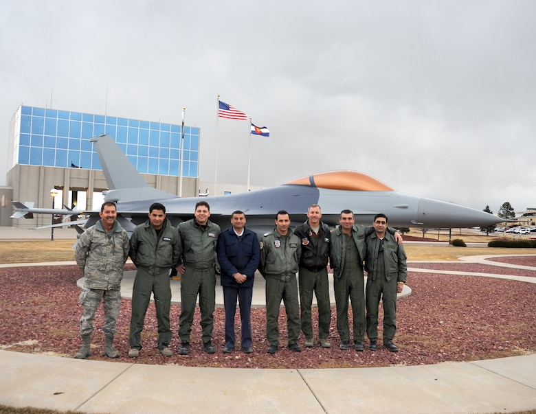 Six members of the Royal Jordanian Air Force visited the 140th Wing, Colorado Air National Guard, as part of the week-long State Partnership Program Aviation Safety Exchange to share ideas and best practices about aviation safety and build relationships with Colorado Air National Guard counterparts at Buckley Air Force Base in Aurora, Colo., Feb. 4-9, 2013. (Air National Guard Photo / Senior Master Sgt. John P. Rohrer)