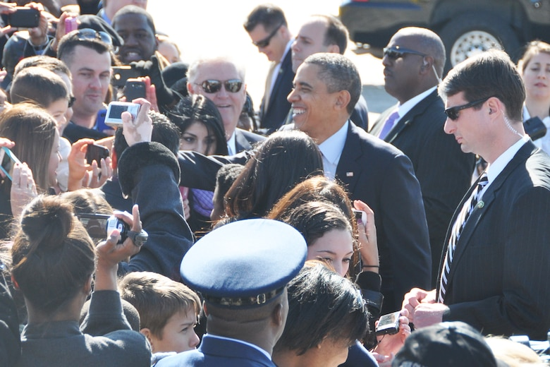 President Barack Obama greets guests during his visit to Dobbins Air Reserve Base, Feb. 14. The president was en-route to the City of Decatur Recreation Center to discuss proposals outlined in his recent state of the union address. (U.S. Air Force photo/James Branch)