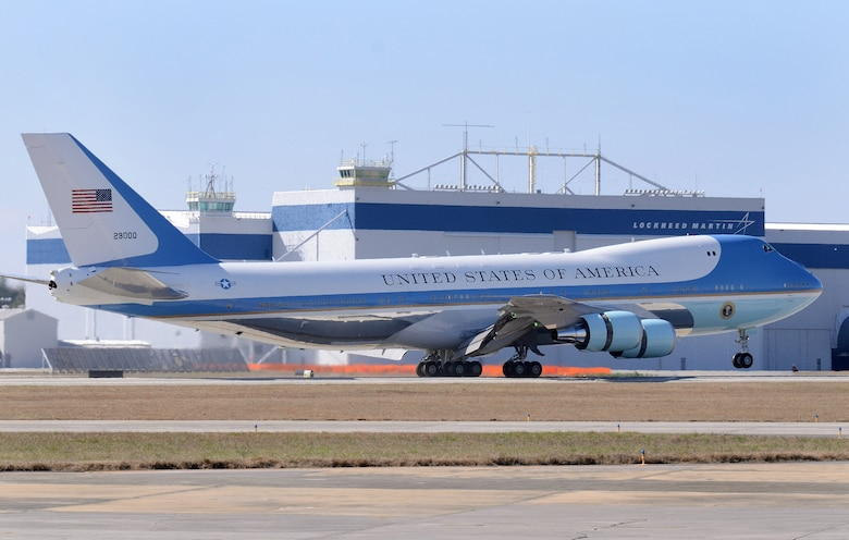 Air Force One arrives at Dobbins Air Reserve Base, Marietta, Ga., Feb. 14.  President Obama is going to the City of Decatur Recreation Center today to discuss proposals outlined in his state of the union speech.  (U.S. Air Force photo/ Brad Fallin)