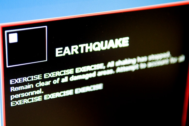 GRISSOM AIR RESERVE BASE, Ind. -- An earthquake exercise notification displays on a computer screen here Feb. 7. This computer-based notification system is one of many ways the base informs Grissom personnel with important information. (U.S. Air Force photo/Tech. Sgt. Mark R. W. Orders-Woempner)