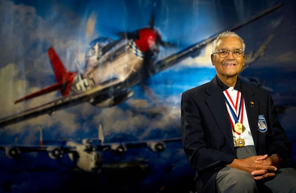 Retired Col. Charles McGee, an original Tuskegee Airman, will serve as the guest speaker during the African American Heritage Month luncheon at the Minuteman Commons Feb. 21. (Photography by Staff Sgt. Vernon Young Jr.)