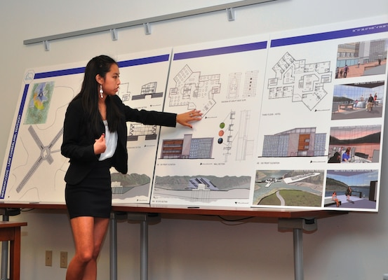 "Missica Tang, graduate student at the University of Miami-Ohio, presents ""Meridian Cove,"" her architectural design for a proposed marina at Lake Cumberland, Ky., to the U.S. Army Corps of Engineers Nashville District Dec. 3, 2012 in Nashville, Tenn.,as part of a real-world class assignment."