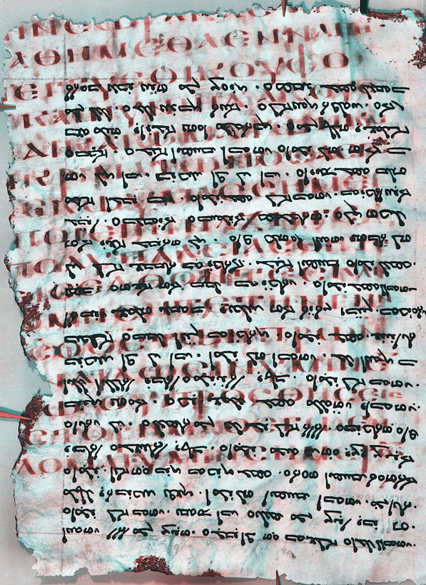 Dr. Keith Knox, Air Force Research Laboratory scientist, has been working with teams to reveal ancient text. The work involves separating the two writings and enhancing the erased writing, making it easier for scholars to read. Here the ordinary visible text appears in black, while the more ancient erased text, written in Greek, appears in red.     Photo: Copyright St. Catherine's Monastery, used with permission.