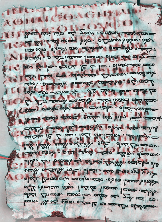 Dr. Keith Knox, Air Force Research Laboratory scientist, has been working with teams to reveal ancient text. The work involves separating the two writings and enhancing the erased writing, making it easier for scholars to read. Here the ordinary visible text appears in black, while the more ancient erased text, written in Greek, appears in red. 