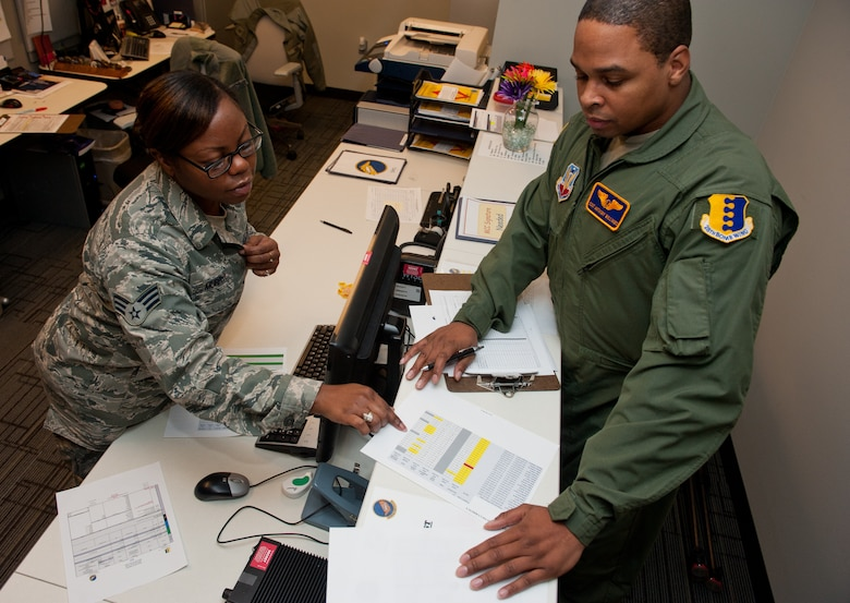 Senior Airman Alexandria Murphy, 432nd Attack Squadron aviation resource manager, reviews a flight record with Staff Sgt. Anthony Williams, 432nd ATKS sensor operator, in the SARM office on Ellsworth Air Force Base, S.D., Jan. 28, 2013. SARM Airmen create itineraries and track qualifications, training and flight records for aircrews at Ellsworth. (U.S. Air Force photo by Airman 1st Class Kate Thornton-Maurer/Released)