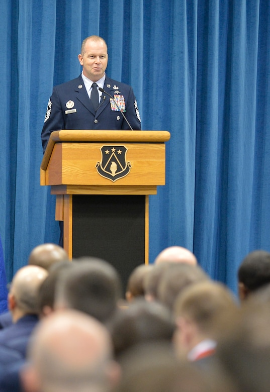 Chief Master Sgt. Jim Hotaling, Command Chief Master Sergeant of the Air National Guard, speaks to Airmen and Coast Guardsmen graduating from the Paul H. Lankford EPME Academy at the I. G. Brown Training and Education Center, here Feb. 14, 2013. Students attending the Noncommissioned Officers Academy and Airmen Leadership School totaled 314 for the six and five week classes. (National Guard photo by Master Sgt. Kurt Skoglund/Released)