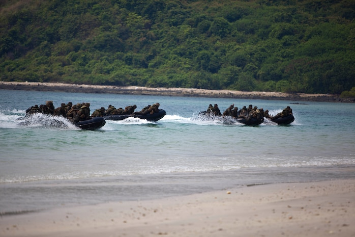 Marines and Sailors with Company B., Battalion Landing Team 1st Battalion, 5th Marine Regiment, 31st Marine Expeditionary Unit, speed ashore on combat rubber raiding crafts during a bilateral boat raid as a part of exercise Cobra Gold 2013 here, Feb. 15. Cobra Gold is an annual exercise that includes numerous multilateral events ranging from amphibious assaults to non-combatant evacuation operations. The training aims to improve interoperability between the United States, the Kingdom of Thailand, and many other participating countries. The 31st MEU is the only continuously forward-deployed MEU and is the Marine Corps' force in readiness in the Asia-Pacific region.